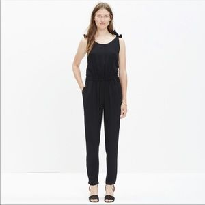 Black tie shoulder jumpsuit